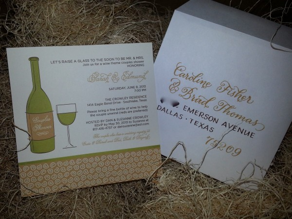 Post image for Custom Hand Lettering for a Wine Themed Couples Shower Invitation